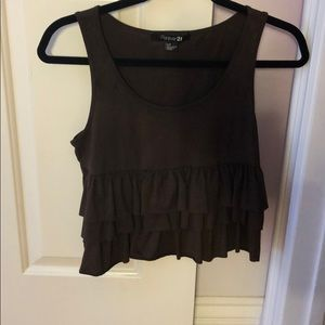 Brown ruffle forever 21 tank